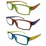 Palucart 3 Paia Occhiali da lettura uomo donna. Occhiali da vista uomo donna occhiali da vista dispositivo medico colori chiari per computer, gioco (1.50)