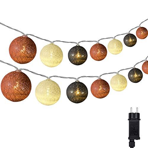Cotton Ball Lichterkette, DeepDream 4.5m 20 LED Kugeln Lichterkette Innen Lichterkette Baumwollkugeln Lichterkette mit Stecker für Kinderzimmer, Schlafzimmer, Hochzeit, Party, Festival (Braun)
