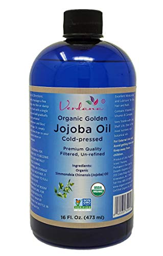Organic Verdana USDA Certified Organic Golden Jojoba Oil, Cold Pressed, Unrefined, 16 Fl. Oz. - Hexane free - Non GMO