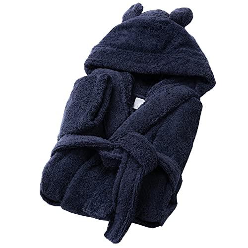 SOHYGGE - Albornoz infantil de 450 gr/m2, para niño y niña, 100% algodón esponja, ecológico OEKO-TEX – Albornoz infantil con capucha – salida de baño infantil, azul marino, 1-2 Years