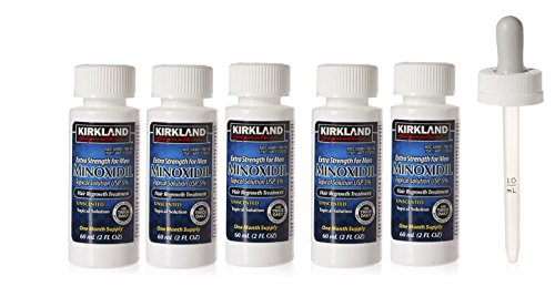 Kirkland Minoxidil 5% Topical Solution Extra Strength Hair Regrowth Treatment for Men Dropper Applicator Included (1 month to 24 month supplies available) (6 month supply), Clear