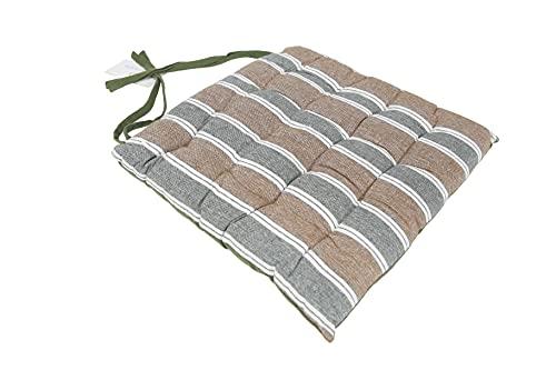 Thesecrethome.es   Cojines para sillas jardín, Comedor, Cocina   Cojines Acolchados para Silla de 40 x 40 cm   Decoración hogar Ideal para sillas Rayas, Cuadros (Marrón-Verde, 1)