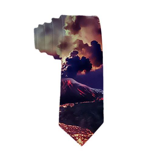 Corbata de poliéster de gran alcance para erupción de volcán para hombre Corbata de jacquard para hombre Regalo de novedad