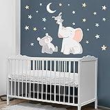 Vinilo bebé Animales tocando la luna blanca 120x70 cm - Vinilos infantiles bebé - T1 - Pequeño