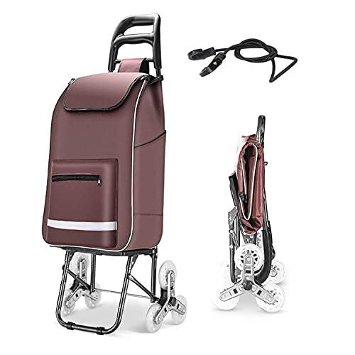 Carrito de la compra con ruedas plegable, carrito de mercado, con 6 ruedas, carrito de compra con bolsa de carga impermeable extraíble, carro con cordón elástico (café)