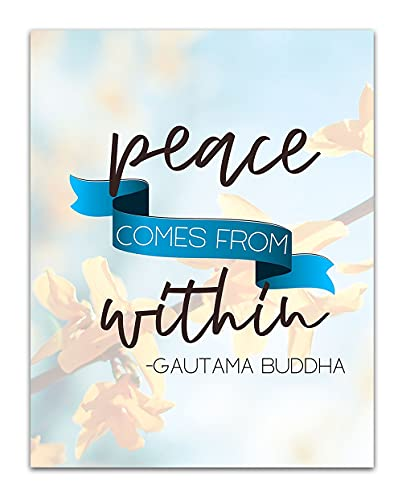Peace Comes from Within Buddha Quote - Spiritual and Boho Wall Decor - Namaste Zen and Meditation Aesthetic - Unframed 11x14 Wall Art Print for Living Room or Yoga Studio