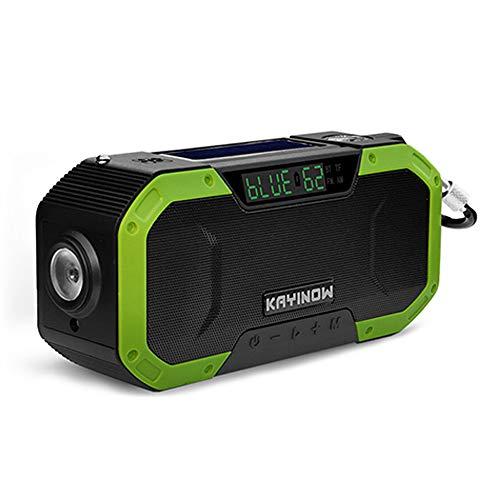 TreeLeaff Solar Radio, multifuncional USB portátil, manivela de emergencia Am / FM con pantalla LCD Linterna Sos Alarm Power Bank para kit de supervivencia para acampar al aire libre