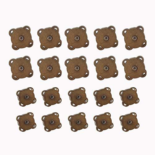 Jicyor 40 Pack Botones a Presión Magnéticos de Metal Magnéticos Botones de Costura de Metal con Forma de Ciruela de Bronce Ideal Para Coser Manualidades Ropa Bolsos álbumes de Recortes