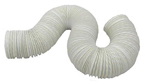 Aktivat 6 m Abluftschlauch Ø 125/127 mm flexibel - max Länge 6 Meter - PVC - weiß - für Mobile Klimageräte, Trockner, Abzugshauben und Anlagen