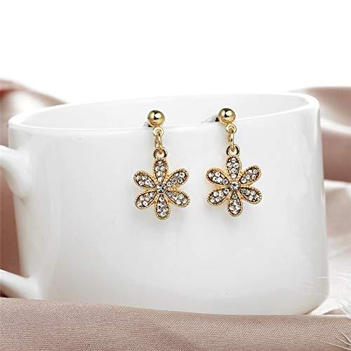 Burenqi Oorbel Bloem Zilver Goud Drop Oorbellen Zirkonia Crystal Oorbellen Sieraden Mode Elegante Oorbellen Vrouw Bruiloft Gift