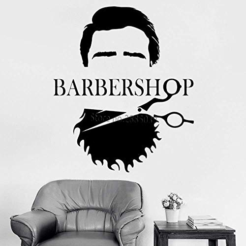 Cool Heren Barber Shop Vinyl Muursticker Barber Shop Baard Schaar Haar Salon Muurstickers Venster Decoratie 42 cm x 49cm