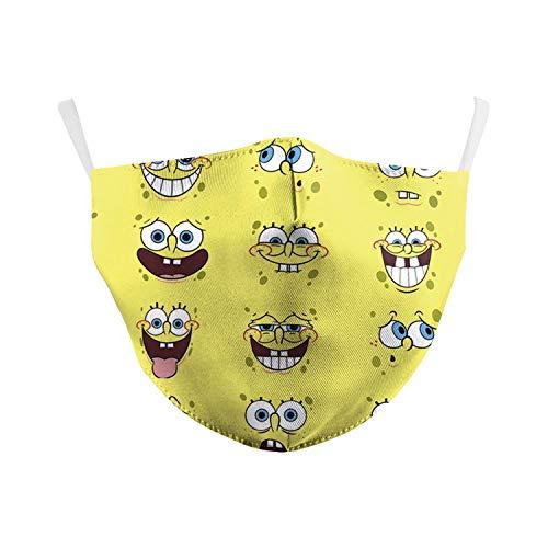 Bosi General Merchandise Spongebob Schwammkopf, Antibeschlag, Gesichtsmaske für Erwachsene, Mode staubdicht, Unisex, gelbe Maske
