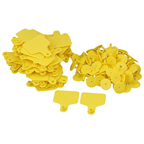 100PCS giallo 6 x 7,4 centimetri Animal Ear Tag con parole 1-100 per piccoli animali