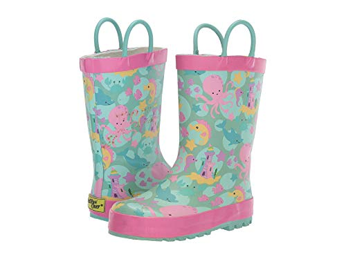 Western Chief Kids Girl's Sea Stars Rain Boot (Toddler/Little Kid) Aqua 13-1 Little Kid M