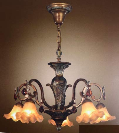 LAMPARA 3L.DIAM 60 C/AMBAR.OXIDO ENVEJECIDO