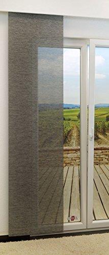 LYSEL Schiebegardine Rips transparent einfarbig in den Maßen 245 cm x 60 cm grau/anthrazit
