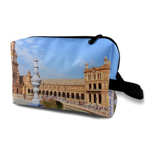 Neceser Colgante de Viaje,Famosa Plaza de españa,Sevilla,españa.,Viejo,hito,Organizador de Maquillaje cosmético Bolsa de higiene y Organizador de Ducha