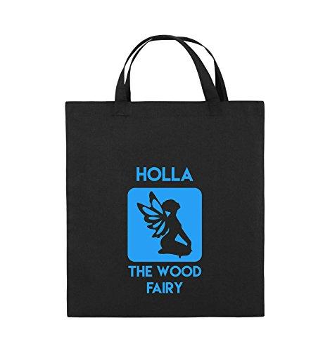 Comedy Bags - Holla The Wood Fairy - Jutebeutel - Kurze Henkel - 38x42cm - Farbe: Schwarz/Blau