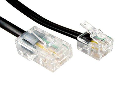 rhinocable 10m RJ45 Kabel Ethernet-Modem-Daten-Telefon ASDL Patch Führen Breitband Schnelle Geschwindigkeit BT Internet-Stecker 6P4C bis 8P8C Eben Kompatibel mit Modem, Router, Festnetz (Schwarz)