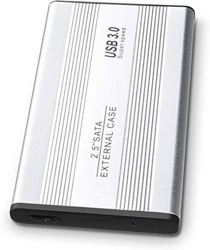 Disco duro externo de 2 TB para disco duro portátil, ultrafino, USB 3.0, compatible con PC, Mac, escritorio, ordenador portátil (2 TB, Silver)