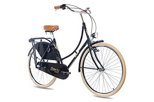 KCP 28 Zoll Citybike Damen Hollandrad - Deritus N3 schwarz - Damen-City-Fahrrad mit Shimano Nexus 3 Gang Nabenschaltung im Retro Design, Vintage Damenfahrrad mit Rücktrittbremse und Gepäckträger