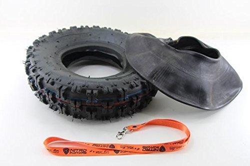 Nitro Motors Reifen mit Schlauch für Quads 4.10-6 Tyre X Profil Pocket Dirt Bike Quad ATV + Gratis Schlüsselanhänger Lanyard