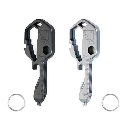 24-in-1 Key Tool 24 IN 1 Edelstahl-Werkzeugwerkzeug mit mehreren Werkzeugen und Schlüsselform für das Lineal des Schlüsselbund-Flaschenöffners Utility-Multifunktions-Schlüsselbund Überleben im Freien