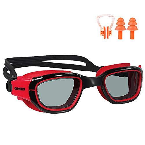 OMID Gafas de natación antiempañamiento con Lentes de protección UV400 para Hombres, Mujeres y jóvenes (Transparente/Espejo Opcional), Negro