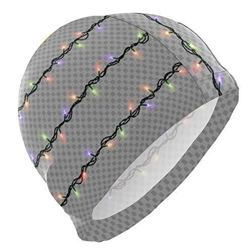 zhouyongz Lámpara de Gorro de baño Luz de Rejilla Luminosa Personalización de Personalidad Cráneo de natación Sombrero de Cubierta Orejas Gorro de baño cómodo, diseño ergonómico 3D