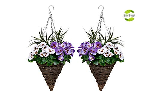 2 x Artificial Cone Shaped Hanging Baskets with Purple & White Flowers and Decorative Grasses (Set...