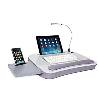 Sofia + Sam Multi Tasking Memory Foam Lap Desk with USB Light (Silver) | Supports Laptops Up To 15 Inches