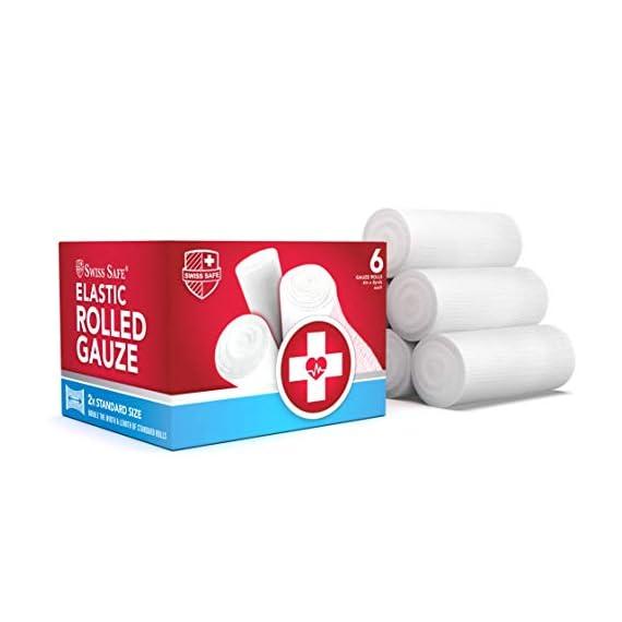 Elastic Stretch Gauze Rolls (6-Pack) - [ 2X Longer ] - Size: 4 inch x 8 Yards 1 Gauze Rolls