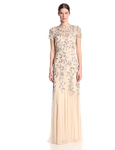 Adrianna Papell Women's Floral Beaded Godet Gown with Sheer Short Sleeves, Taupe/Pink, 0