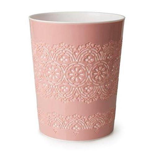 Poubelle de bureau Canyon 9litres, motifs floraux, panier corbeille de rangement pour bureau, salle de bain, chambre, rose, 9L