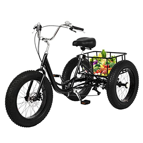 Fat Tire Adult Tricycle,Practical 1/7 Speed 3-Wheel with Rear Cargo Basket for Shopping and Picnics,Easy to Install (Black)