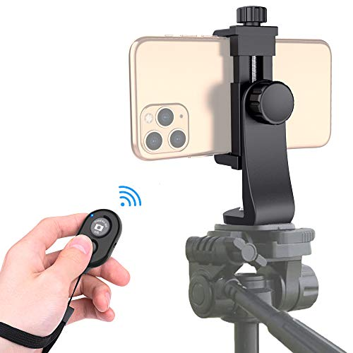 Universal Phone Tripod Mount Adapter with Bluetooth Camera Remote, Cell Phone Holder with Adjustable Clamp for Selfie Stick Monopod Compatible with iPhone, Samsung and so on , Wrist Strap Included
