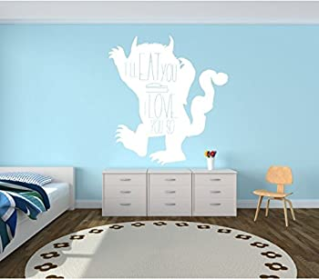 Wall Decal For Kids - Monster Carol Silhouette - I ll Eat You Up I Love You So  Quote - Where The Wild Things Are Room - Vinyl Wall Art and Decor for Children s Bedroom or Playroom