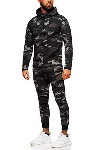 behype. Herren Camouflage Sportanzug Trainingsanzug Jogginganzug 70-0793 Schwarz XL