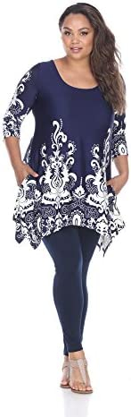 white mark Women s Plus Size Yanette Handkerchief Hem Tunic Top with Pockets in Paisley Print product image