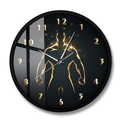 HIDFQY Reloj de cronógrafo de Entrenamiento de Fuerza Arte Deportivo Reloj de Pared de Gimnasio Gimnasio Culturismo Mudo Reloj de Barrido de Pared Hombre Cueva Sala de Estar decoración Marco de Metal
