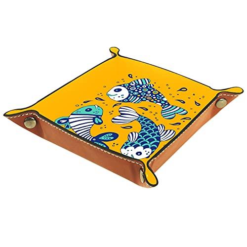 Bandeja del valet del almacenamiento del escritorio, almacenamiento plegable de cuero de la joyería de la bandeja Peces marinos de dibujos animados para escritorio, oficina, llave, joyería