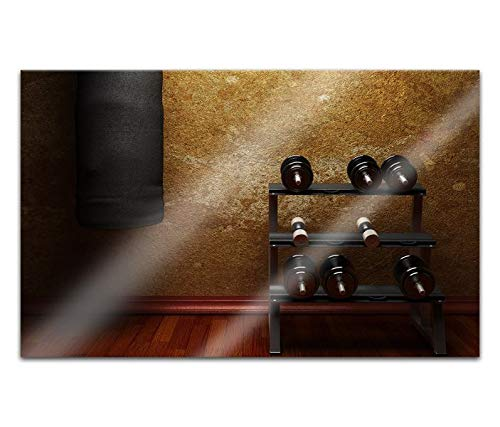 Acrylglasbilder 80x50cm Fitness Hanteln Boxsack Sport retro Acryl Bilder Acrylbild Acrylglas Wand Bild 14H1413
