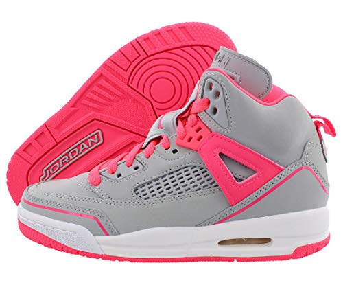 Jordan Spizike Girls Shoes Size 7, Color: Wolf Grey/Racer Pink/White