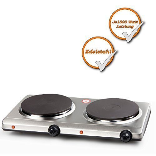 Edelstahl Doppel-Kochplatte, starke 3000Watt, elektrisches 2 Platten Kochfeld, 6 Heizstufen