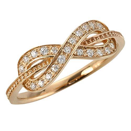[ジュエリーアイ] ダイヤモンドリング ピンクゴールドK18 インフィニティ 無限 ∞ 18金 ピンキーリング 指輪 K18PG 8号