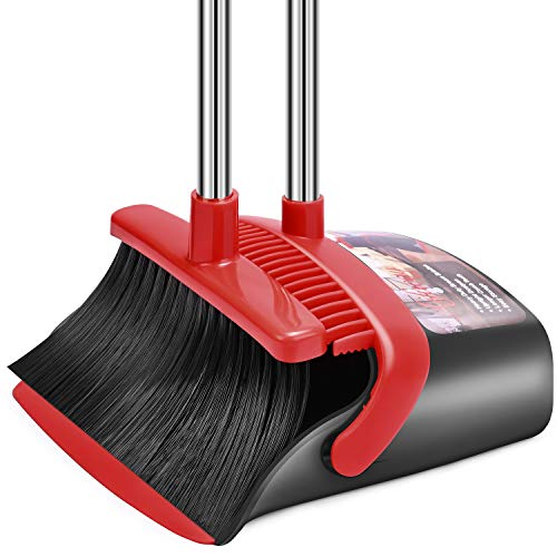 Broom and Dustpan Set, Dust Pan and Broom Combo for Floor Cleaning Dustpan with Teeth for Home Kitchen Lobby Upright Standing Dustpan and Broom Set Long Handle Broom Heavy Duty for Indoor Outdoor