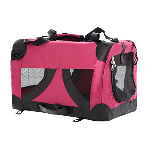 Bolso transportín para perros o gatos Nobleza, material blando de color rojo, largo 61cm