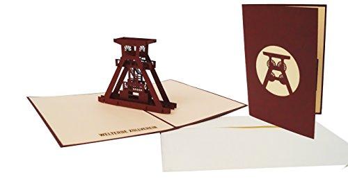 POP UP 3D Karten, Grußkarten Ruhrgebiet, Zeche Zollverein, Grußkarten Ruhrpott, Bergbau, Weltkulturerbe, Grußkarten Zeche Zollverein, Förderturm (N.170)