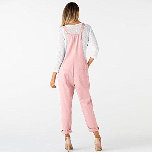 Kobay Women Playsuit Pants, Loose Dungarees Loose Long Pockets Rompers Jumpsuit Trousers Pink
