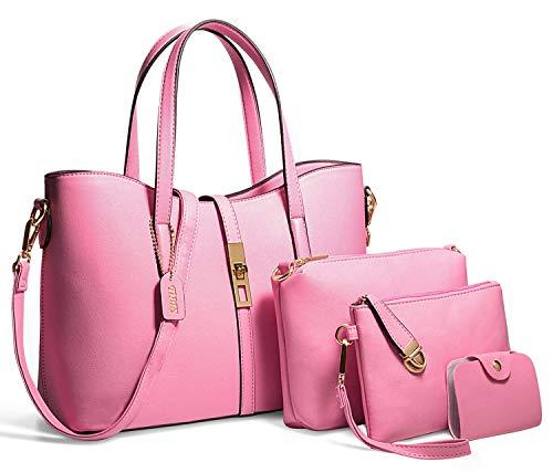 TIBES Fashion Women's PU Leather Handbag Shoulder Bag Purse Card Holder 4pcs Set Tote (M(332414CM), Pink)